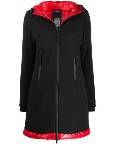 С рукавами черный дождевик с карманами из плащевки Peuterey