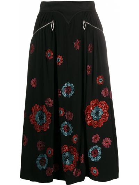 С завышенной талией черная юбка миди с карманами Paco Rabanne