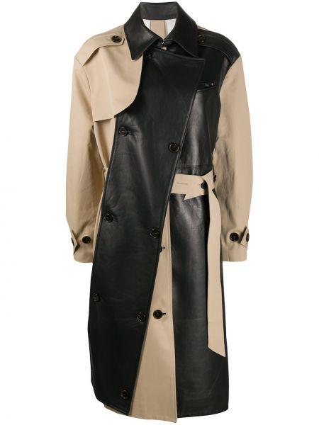 Кожаный пальто классическое на пуговицах двубортный Rokh