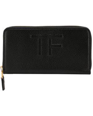 Кожаный кошелек на молнии черный Tom Ford