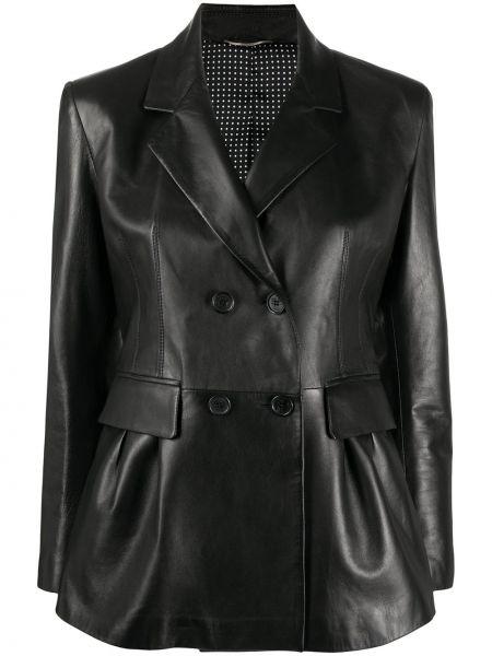 Черный кожаный удлиненный пиджак двубортный Ermanno Scervino