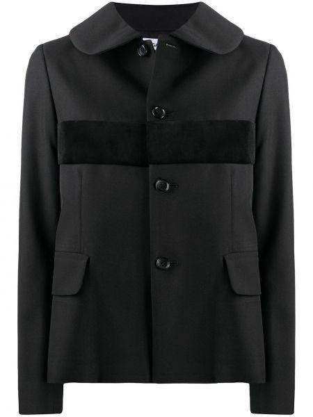 Бархатная ватная черная длинная куртка Comme Des Garçons Comme Des Garçons