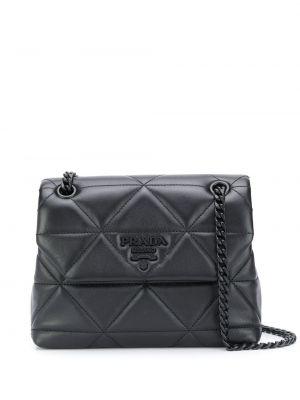 Черная вечерняя стеганая маленькая сумка металлическая Prada