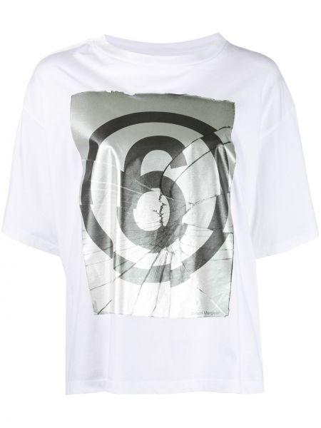 Bawełna biały koszula z krótkim rękawem okrągły dekolt krótkie rękawy Mm6 Maison Margiela