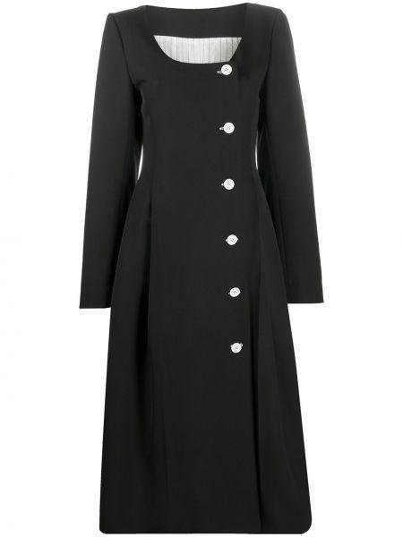 Черное плиссированное платье миди на пуговицах с вырезом Nina Ricci