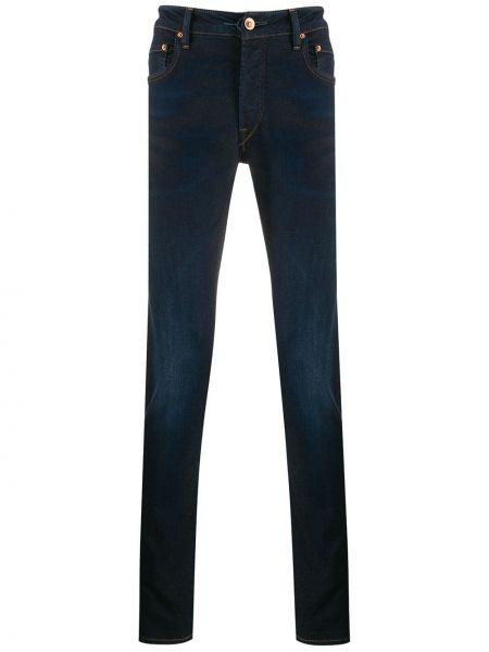 Niebieskie mom jeans z paskiem bawełniane Hand Picked