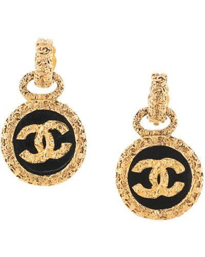 Czarny złoty medalion pozłacany Chanel Pre-owned