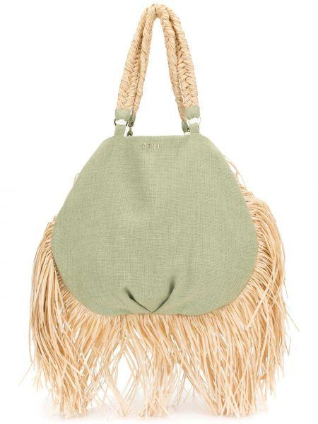 Соломенная сумка-тоут с бахромой 0711