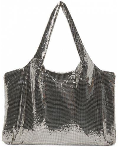 Włókienniczy srebro torebka na łańcuszku prążkowany Kara