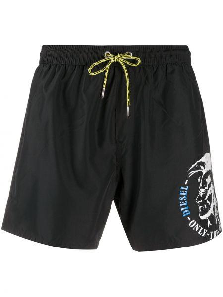 Черные плавки-боксеры с карманами на шнурках Diesel