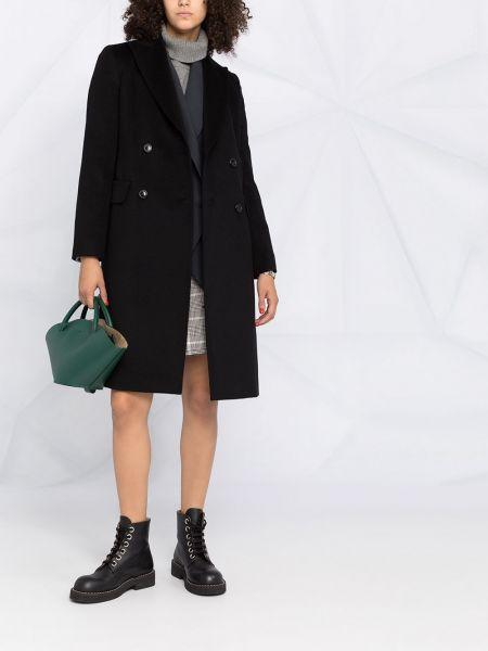 Шерстяное черное длинное пальто двубортное Max Mara Studio