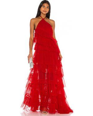 Плиссированное вечернее платье из фатина с воротником на молнии Alexis
