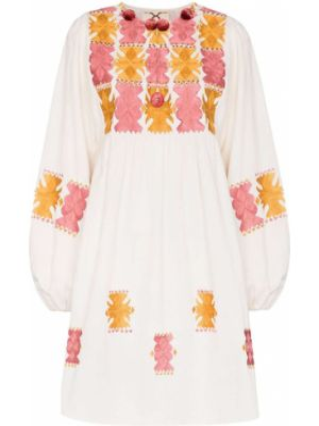 Biała sukienka mini rozkloszowana z haftem Figue