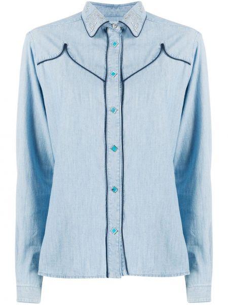 Рубашка с длинным рукавом - синяя Golden Goose