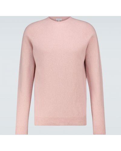 Мягкий шерстяной розовый спортивный свитер Sunspel