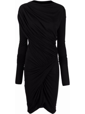 Черное платье миди с вырезом квадратное Rick Owens Lilies