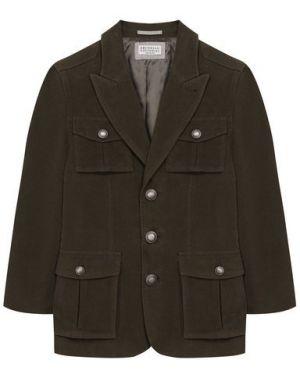 Пиджак бархатный на пуговицах Brunello Cucinelli