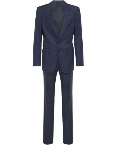 Kostium wełniany garnitur z klapami z kieszeniami Tom Ford