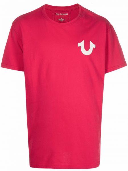 T-shirt z printem - różowa True Religion