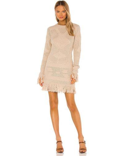 Кашемировое бежевое платье-свитер с бахромой Misa Los Angeles