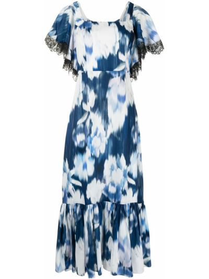 Niebieska sukienka mini rozkloszowana koronkowa Sachin & Babi