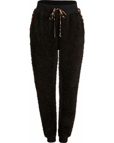 Флисовые черные джоггеры с карманами Plush
