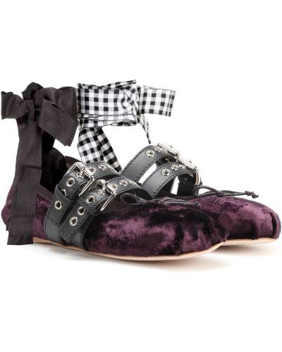 Кожаные фиолетовые балетки Miu Miu