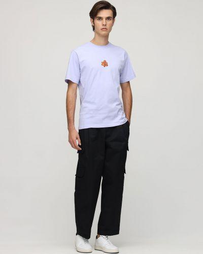 Fioletowy t-shirt bawełniany z haftem P.a.m. Perks And Mini