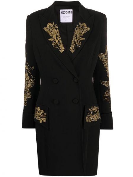 Облегающее черное платье мини с вышивкой Moschino