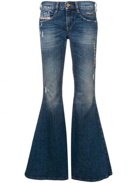 Синие кожаные расклешенные джинсы с низкой посадкой с поясом Diesel