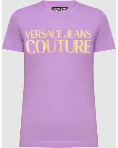 Джинсовая футболка - фиолетовая Versace Jeans Couture