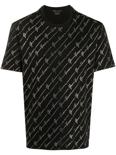 Koszula krótkie z krótkim rękawem z logo czarna Versace