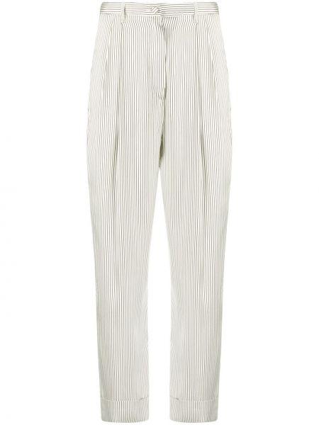 Белые шелковые плиссированные брюки на пуговицах Hebe Studio
