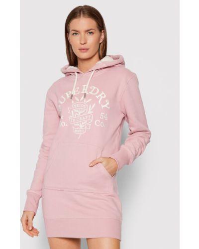 Sukienka dzianinowa - różowa Superdry