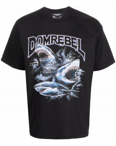 Czarna T-shirt z nadrukiem bawełniana Domrebel