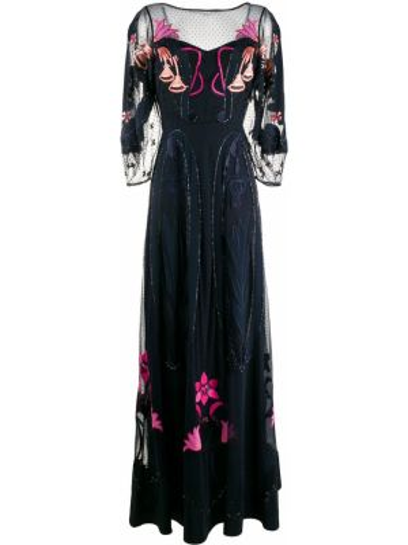 Платье с вышивкой с рукавами Temperley London