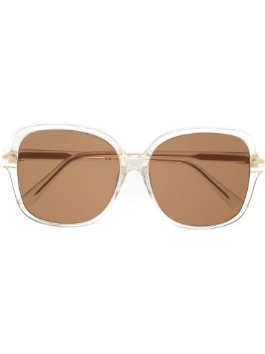 Золотистые солнцезащитные очки хаки оверсайз Bottega Veneta Eyewear