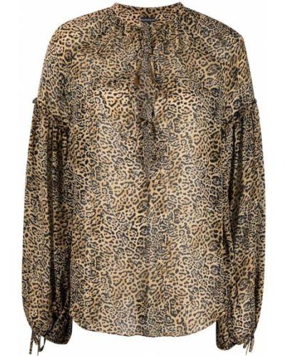 Brązowa bluzka z długimi rękawami z wiskozy Wandering