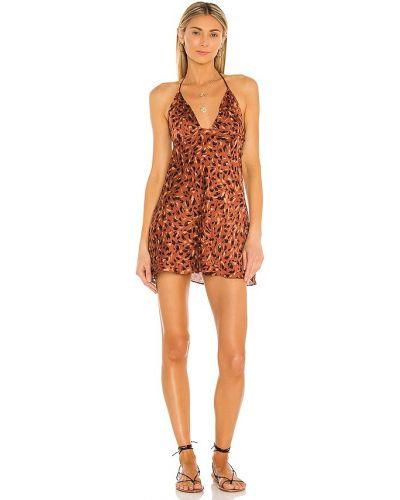 Сатиновое коричневое платье-свитер свободного кроя Free People