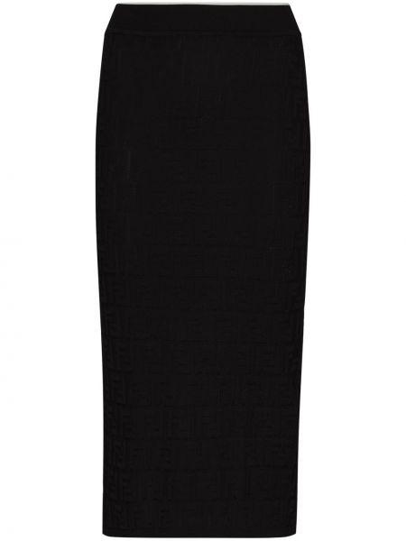 Ватная черная юбка карандаш из вискозы Fendi