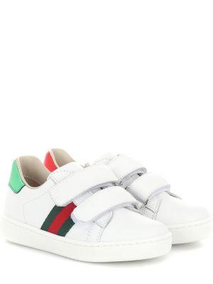 Кожаные кроссовки белый с логотипом Gucci Kids