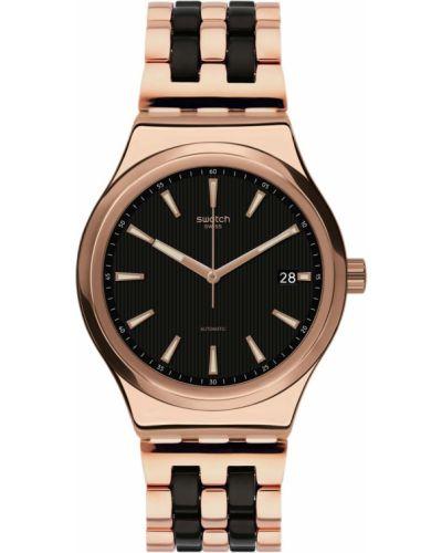 Акриловые со стрелками серебряные часы механические Swatch