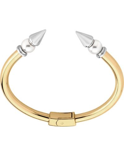 Золотой браслет позолоченный с камнями Majorica