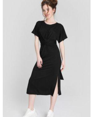 Черное платье миди с запахом с разрезами по бокам с короткими рукавами Ostin