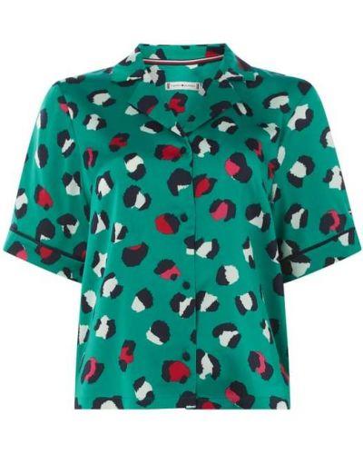 Zielona satynowa piżama krótki rękaw Tommy Hilfiger