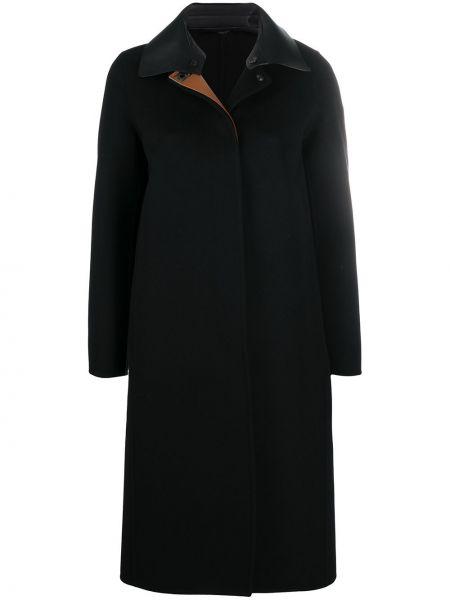 Черное кашемировое длинное пальто с воротником Salvatore Ferragamo