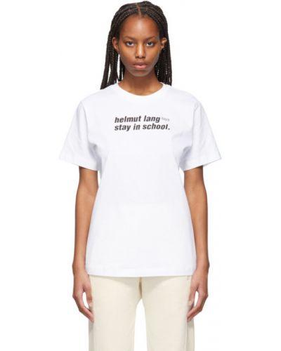 Хлопковая белая футболка с воротником Helmut Lang