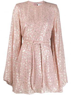 Платье с поясом розовое на молнии Stella Mccartney