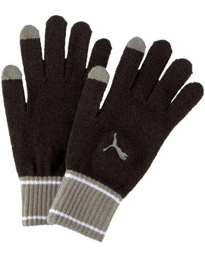 Повседневные вязаные черные перчатки с вышивкой Puma