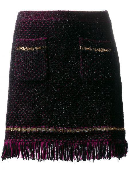Юбка мини с бахромой с карманами Versace